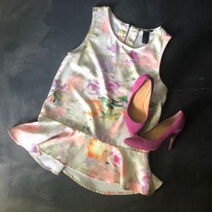 H&M Sleeveless Pastel Abstract Peplum Top -Size 4